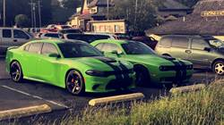 Green Go Hellcat Charger and Hellcat Challenger
